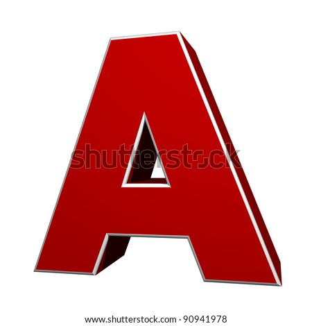 three-dimensional letter A isolated on white background - stock photo