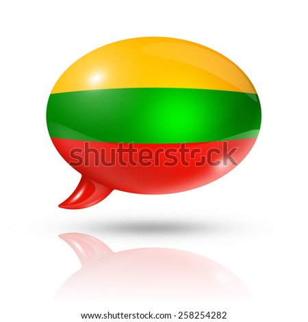 three dimensional Lithuania flag in a speech bubble isolated on white with clipping path - stock photo