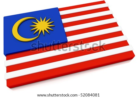 Three dimensional Malaysian flag button.  Part of set of country flags all in 2:3 proportion with accurate design and colors. - stock photo