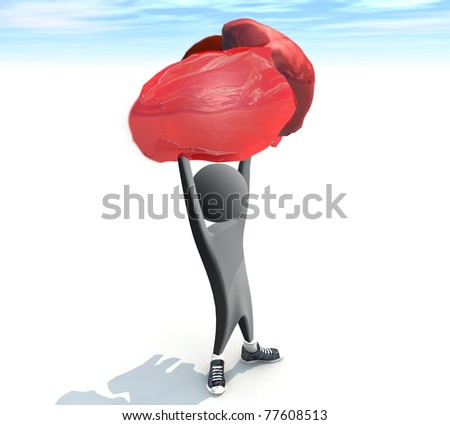 three-dimensional man holding a heart - stock photo