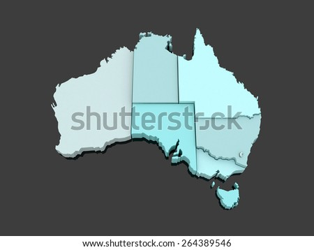 Three-dimensional map of Australia. 3d - stock photo