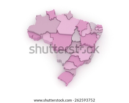 Three-dimensional map of Brazil. 3d - stock photo