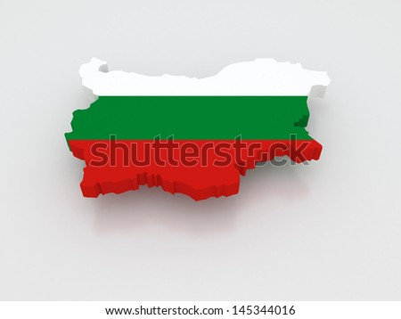 Three-dimensional map of Bulgaria. 3d