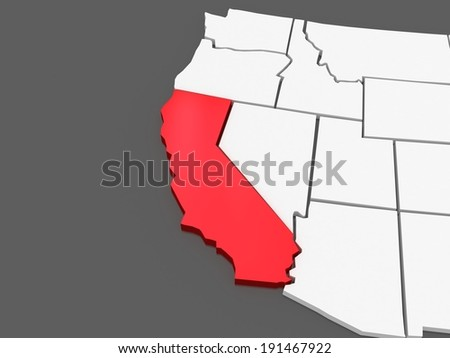 Three-dimensional map of California. USA. 3d - stock photo