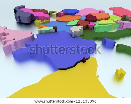 Three-dimensional map of Europe in bright colors - stock photo