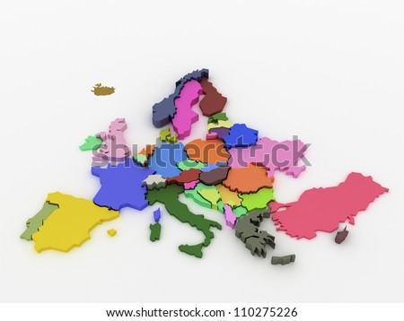 Three-dimensional map of Europe on white isolated background - stock photo