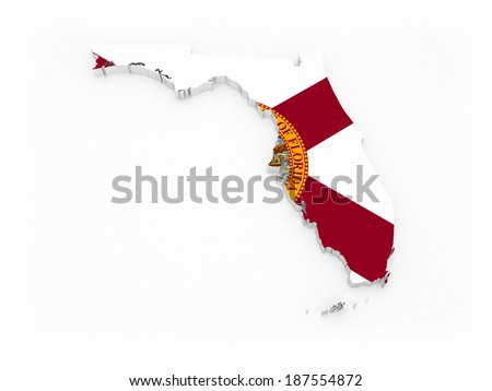 Three-dimensional map of Florida. USA. 3d