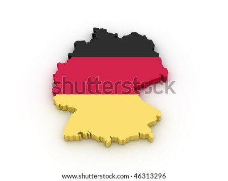 Three dimensional map of Germany in German flag colors. - stock photo