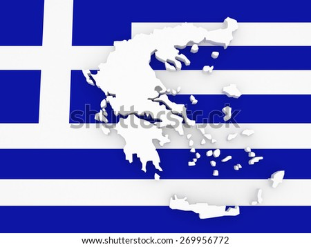 Three-dimensional map of Greece. 3d - stock photo