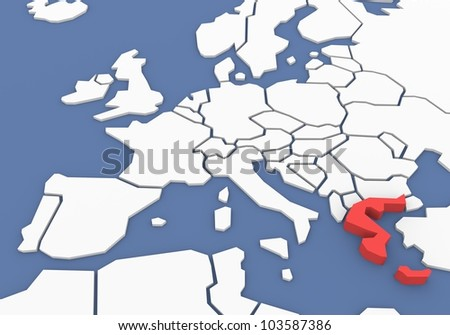 Three-dimensional map of Greece isolated. 3d - stock photo
