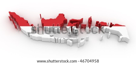 Three dimensional map of Indonesia in Indonesian flag colors. - stock photo
