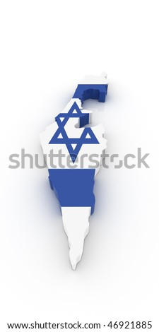Three dimensional map of Israel in Israeli flag colors. - stock photo