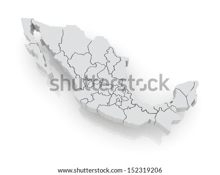 Three-dimensional map of Mexico. 3d - stock photo
