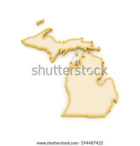 Three-dimensional map of Michigan. USA. 3d - stock photo