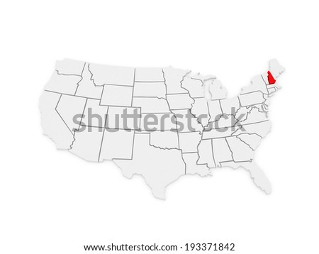 Three-dimensional map of New Hampshire. USA. 3d