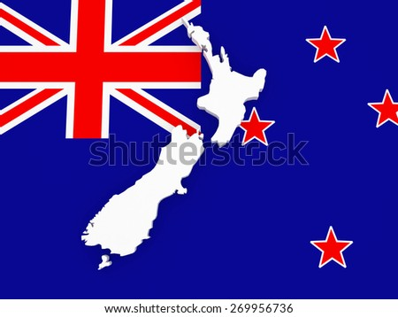 Three-dimensional map of New Zealand. 3d - stock photo