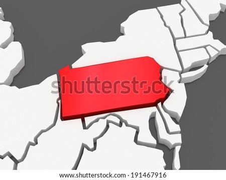 Three-dimensional map of Pennsylvania. USA. 3d - stock photo