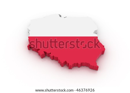Three dimensional map of Poland in Polish flag colors. - stock photo