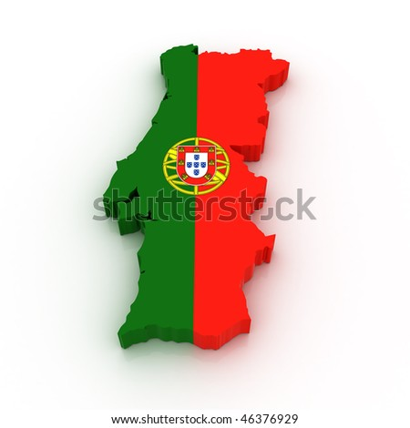 Three dimensional map of Portugal in Portuguese flag colors. - stock photo