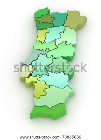 Three-dimensional map of Portugal on white isolated background. 3d