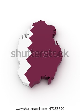 Three dimensional map of Qatar in Qatar flag colors. - stock photo