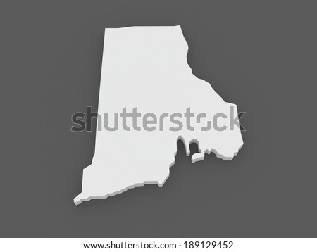 Three Dimensional Map Of Rhode Island Usa 3d