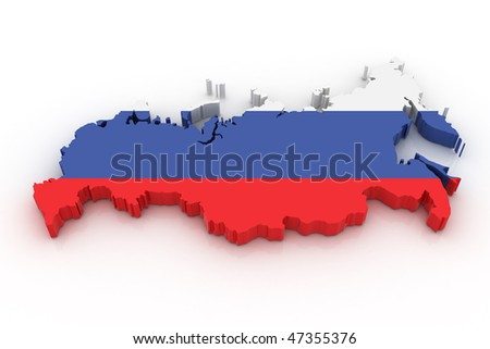 Three dimensional map of Russia in Russian flag colors. - stock photo