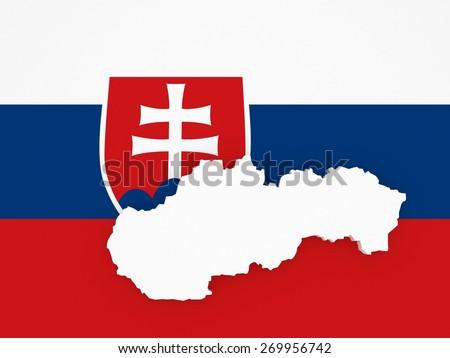 Three-dimensional map of Slovakia. 3d - stock photo