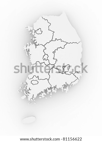 Three-dimensional map of Southern Korea on white isolated background. 3d - stock photo