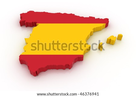 Three dimensional map of Spain in Spanish flag colors. - stock photo