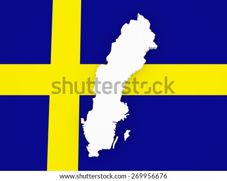 Three-dimensional map of Sweden. 3d - stock photo