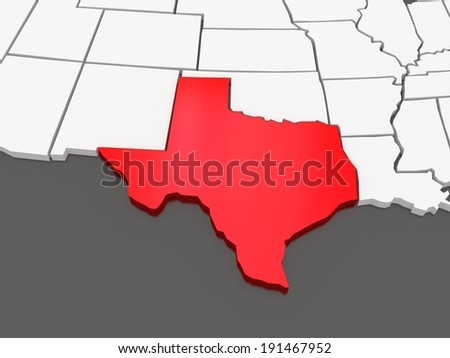 Three-dimensional map of Texas. USA. 3d - stock photo