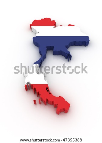 Three dimensional map of Thailand in Thai flag colors.
