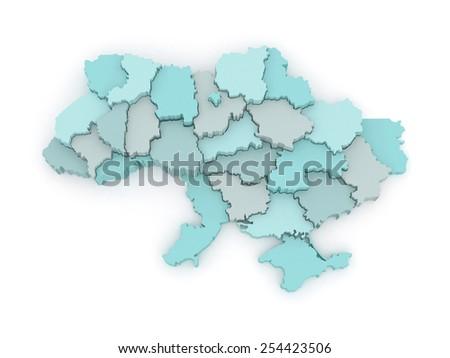 Three-dimensional map of Ukraine. 3d - stock photo