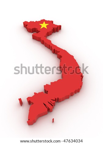 Three dimensional map of Vietnam in Vietnamese flag colors. - stock photo