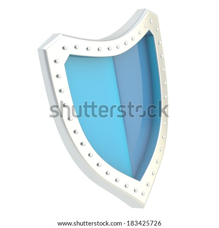 Three-dimensional metal chrome and blue shield symbol isolated over the white background - stock photo