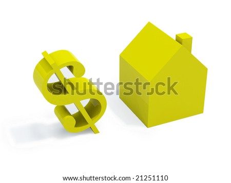 three dimensional model of a house with a dollar's symbol; it suggests the idea of real estate and financial business - stock photo