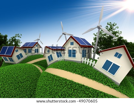 Three-dimensional model of abstract village which is constructed with use of power saving up technologies - stock photo