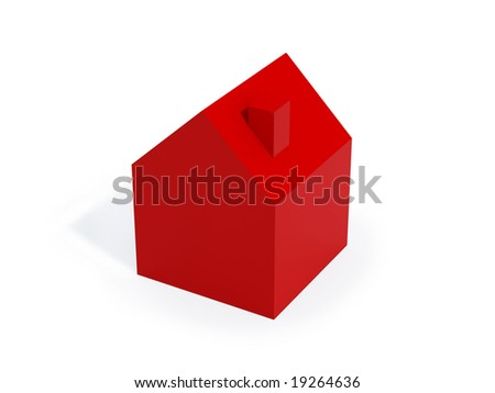 three dimensional model of house isolated on white background. FIND MORE houses in my portfolio - stock photo