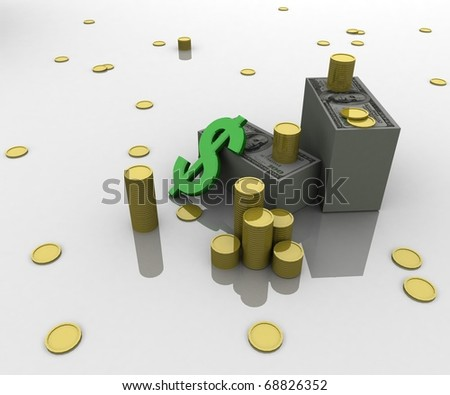 three-dimensional, money, gold coins, dollar symbol lying on a white glossy plane - stock photo