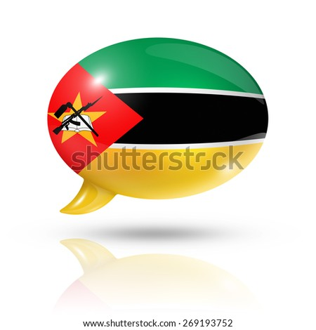 three dimensional Mozambique flag in a speech bubble isolated on white with clipping path - stock photo