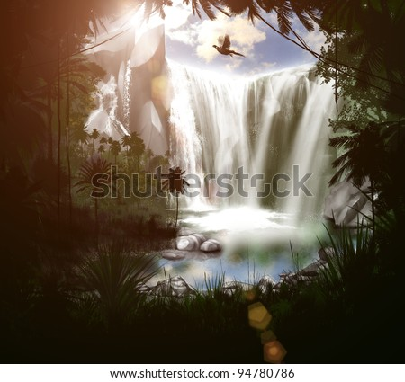 three-dimensional nature, forest, waterfall, lake, in the evening - stock photo