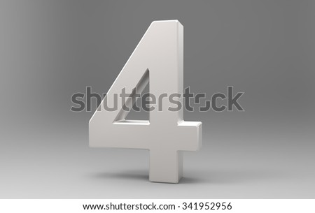 Three dimensional number with material on background with shadows.4 - stock photo