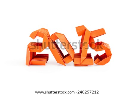 Three dimensional orange origami paper craft number 2015 isolated on white background for Merry Christmas and Happy New Year 2015 - stock photo
