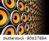 three dimensional orange speakers wall - stock photo