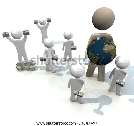 three-dimensional, people are kept globe