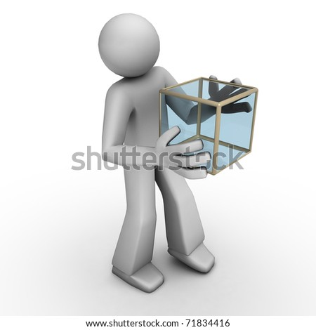Three Dimensional People - Holding a Box - stock photo