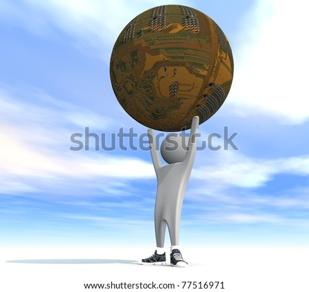 three-dimensional person holding a land - stock photo