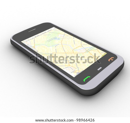 three-dimensional phone on a white background - stock photo