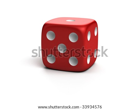 Three-dimensional red die isolated on white with shadow - stock photo